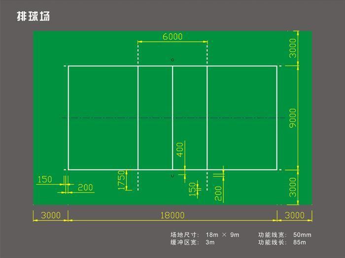 排球场地标准尺寸